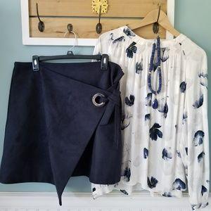Loft Navy Ultra Suede Wrap Skirt 14